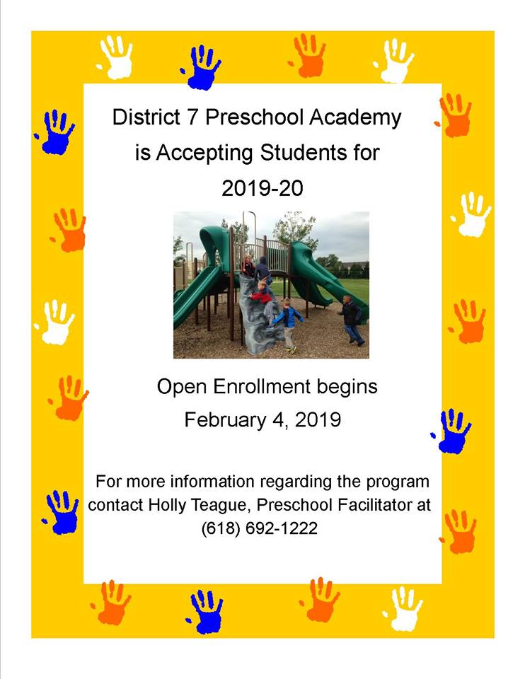 District 7 Preschool Academy is accepting registration for the 2019-2020 school year.