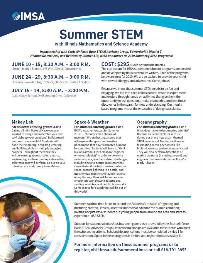Illinois Mathematics and Science Academy (IMSA) for a great summer STEM
